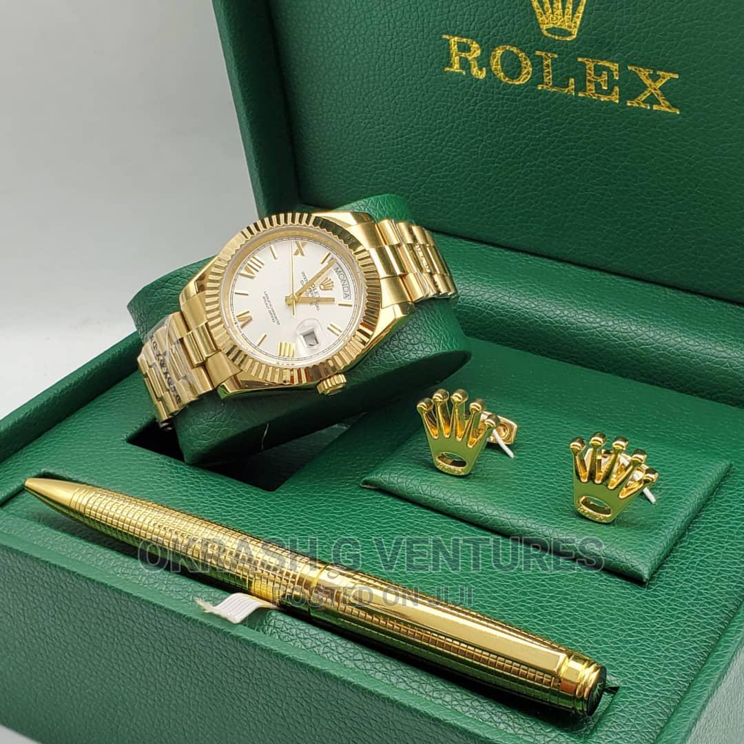 Rolex (Day-Date) Gold Chain Watch With Pen Cufflinks