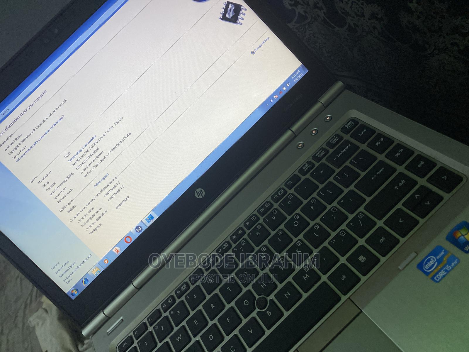 Laptop HP EliteBook 8460P 4GB Intel Core I5 HDD 500GB | Laptops & Computers for sale in Ede, Osun State, Nigeria
