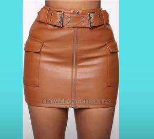 Brown Leather Skirt/Leather Skirt With Pocket in Front   Clothing for sale in Abuja (FCT) State, Karu