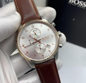 High Quality Hugo Boss Brown Leatherr Watch for Men   Watches for sale in Lagos State, Magodo