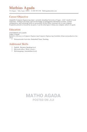 Computing IT CV | Computing & IT CVs for sale in Lagos State, Yaba