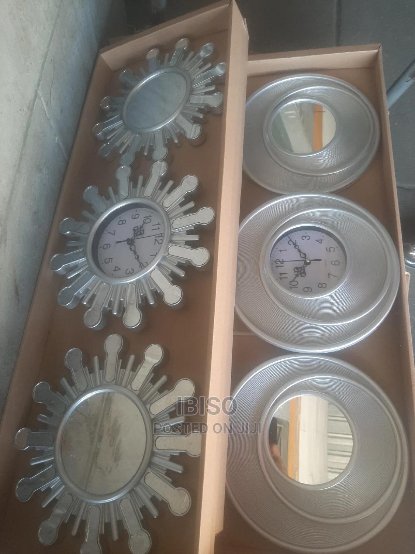 3piece Wall Clock and Mirror Decorative Set