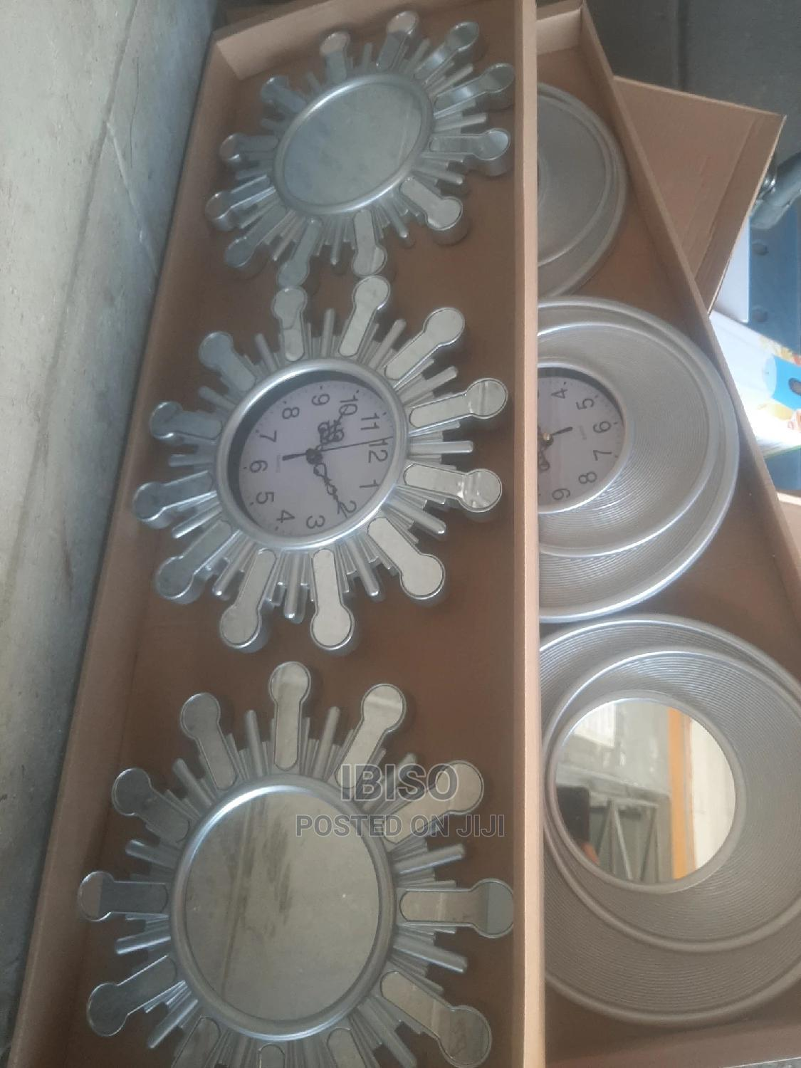 3piece Wall Clock and Mirror Decorative Set | Home Accessories for sale in Port-Harcourt, Rivers State, Nigeria