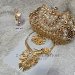 Quality Ladies Clutch Purse With Necklace and Watch   Bags for sale in Lagos State, Mushin
