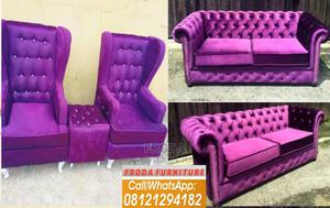 Chesterfield Sofa With Royal Single Chairs . Fabric Couch   Furniture for sale in Lagos State, Ikeja