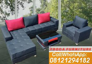 L-Shape Corner Sofa With Single Chair+ Table. Fabric Couch   Furniture for sale in Lagos State, Ikeja