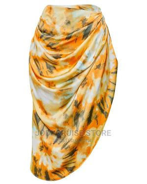 Prettylittlething Orange Tie Dye Ruched Side Midi Skirt   Clothing for sale in Lagos State, Ajah