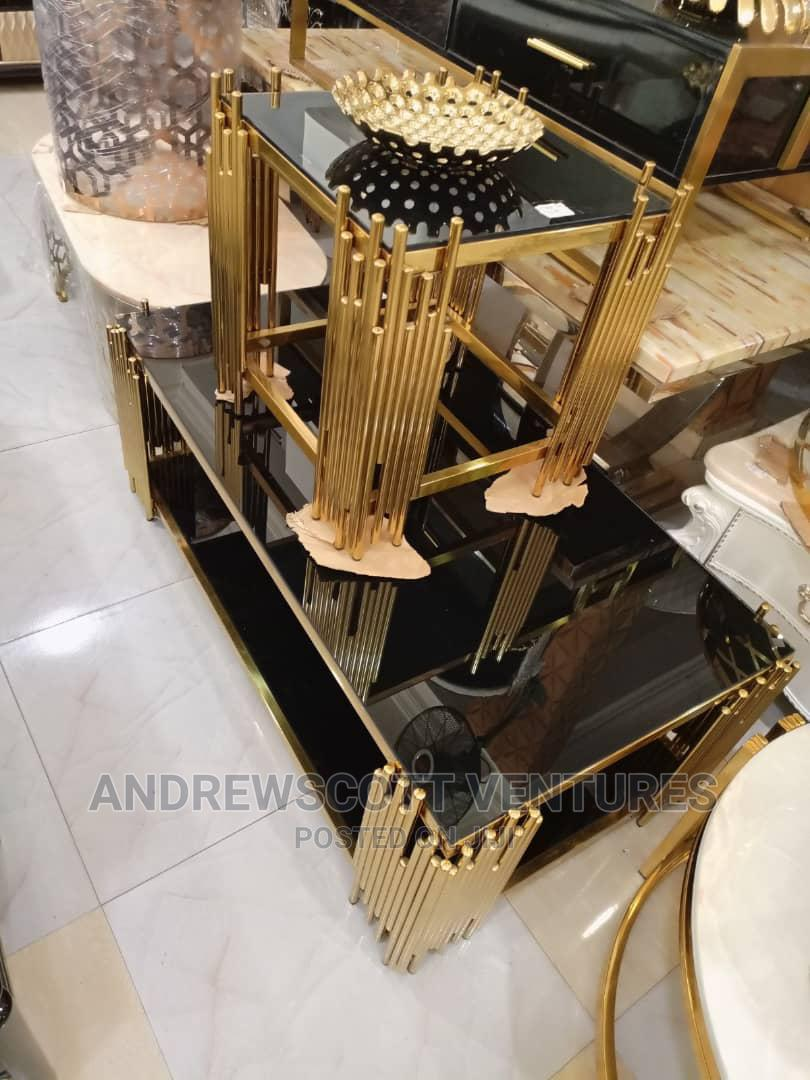 Gold Center Table and Two Side Stool