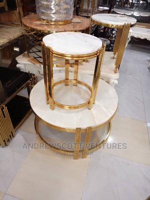 Round Center Table With Two Side Stools (GOLD) | Furniture for sale in Lagos State, Ojo