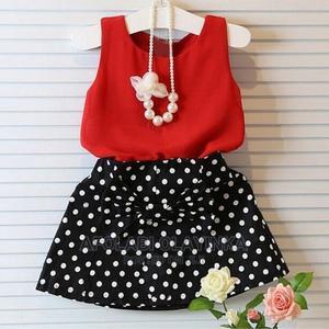 Kids 2pcs Dress. Top/Polka Dot Skirt | Children's Clothing for sale in Lagos State, Ikeja