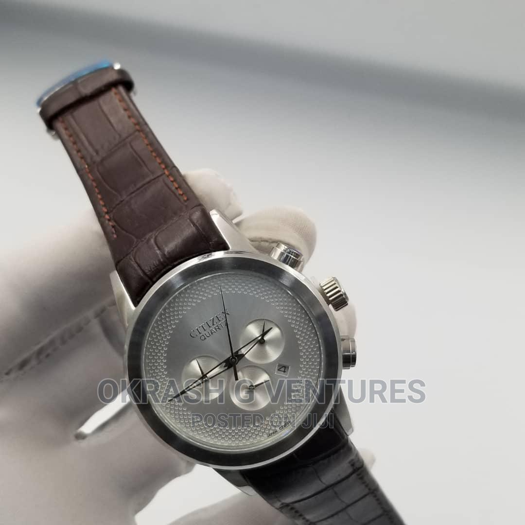 Citizen Chronograph Silver Leather Strap Watch