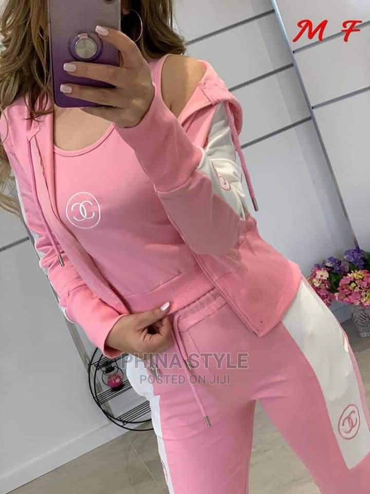 Ladies 3piece Channel Tracksuit in Pink- Hoodie, Sweatpants  | Clothing for sale in Lagos Island (Eko), Lagos State, Nigeria