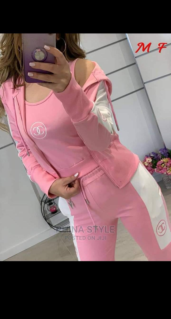 Ladies 3piece Channel Tracksuit in Pink- Hoodie, Sweatpants