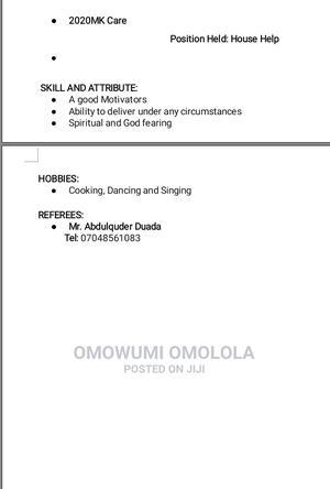 Housekeeping Cleaning CV | Housekeeping & Cleaning CVs for sale in Lagos State, Egbe Idimu