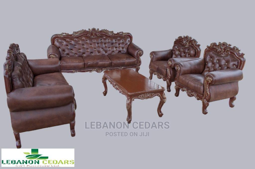 Pure Italian Skin Leather Living Room Set of Chairs