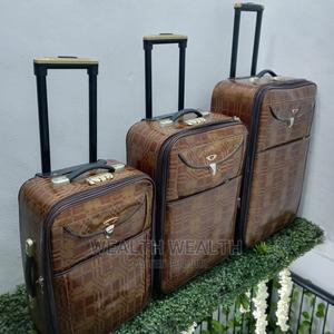 Brown Leather Trolley Luggage _ 3 Set _ 2 Wheels Trolley | Bags for sale in Lagos State, Ikeja