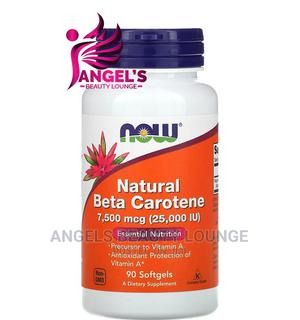 Now Foods Natural Beta Carotene 7,500 Mcg (25,000IU) 90 Caps | Vitamins & Supplements for sale in Lagos State, Ojo
