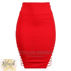 Red Pencil Skirt With Strap Side Detail   Clothing for sale in Lagos State, Ogba