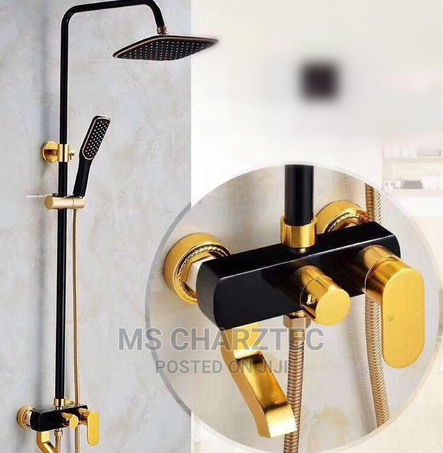 Black and Gold Standing Shower