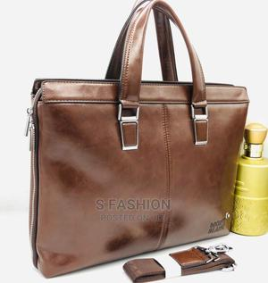 Montblanc Brown Leather Leather Top Handle Men'S Handbag   Bags for sale in Lagos State, Victoria Island