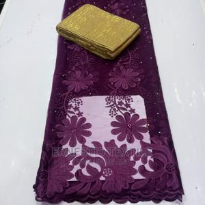 Ashebi Net Lace Material With Flower Embroidry | Clothing for sale in Lagos State, Lagos Island (Eko)