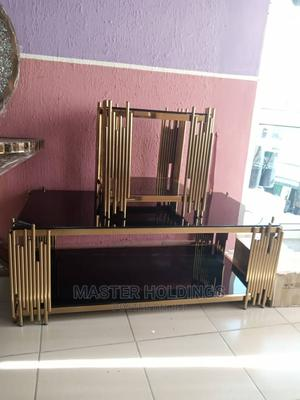 Classic Designed Gold Center Table and Two Sides Stool Table | Furniture for sale in Lagos State, Ajah