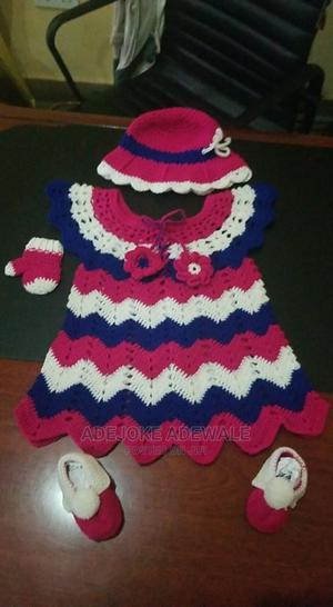 Lovely Hand Knitting Baby Girl Dress Pink Blue and White   Children's Clothing for sale in Osun State, Ede