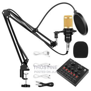 Condenser Mic With Sound Card Stand   Audio & Music Equipment for sale in Lagos State, Ikeja