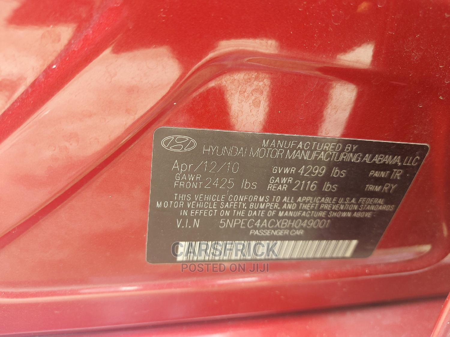Hyundai Sonata 2011 Red | Cars for sale in Port-Harcourt, Rivers State, Nigeria