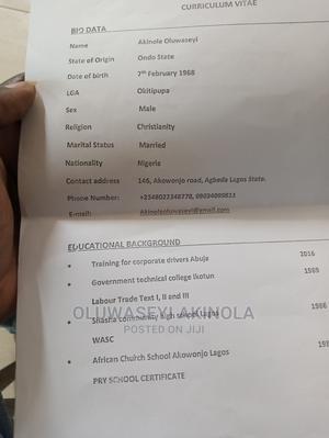 Driver CV | Driver CVs for sale in Lagos State, Gbagada