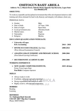 Receptionist | Office CVs for sale in Ogun State, Abeokuta South