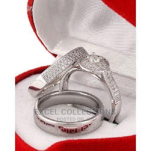 White Sapphire and Diamond Stone Silver Wedding Ring Set | Wedding Wear & Accessories for sale in Lagos State, Surulere