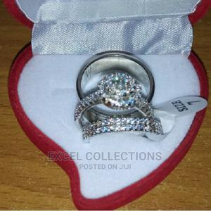 White Sapphire and Diamond Stone Silver Wedding Ring Set   Wedding Wear & Accessories for sale in Lagos State, Surulere
