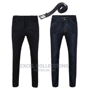 Mens Classic Stone Blue Stone Black Jeans With Black 100% | Clothing for sale in Lagos State, Surulere
