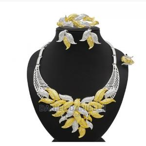 24K. Dubai Wedding Jewelry Sets Gold Necklace Earring Set   Wedding Wear & Accessories for sale in Delta State, Sapele