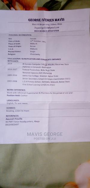 Sale Representative | Retail CVs for sale in Abuja (FCT) State, Kubwa