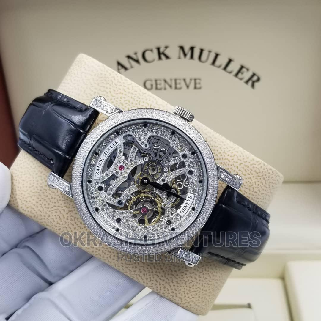 Franck Muller Automatic Full Ice Silver Leather Strap Watch