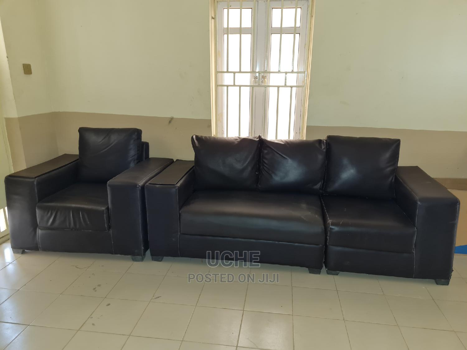 Archive: Coffee-Brown Leather Settee/Sofa Set