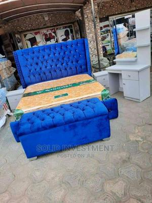 6by6 Upholstery Padded Bed Frame, With Mattress   Furniture for sale in Lagos State, Ikeja