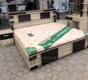 (7by6) Upholstery Padded Bedframe With Mattress   Furniture for sale in Lagos State, Lekki