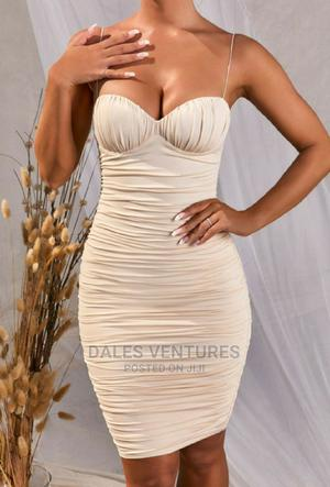 Lady Fashion Pure Color Pleated Bodycon Slip Dress   Clothing for sale in Lagos State, Lekki