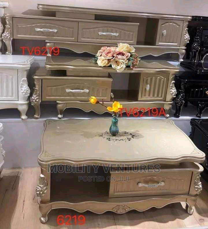 Royal TV Shelves Gold Color