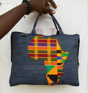 Denim and Ankara Mix Laptop Bag | Bags for sale in Lagos State, Ajah