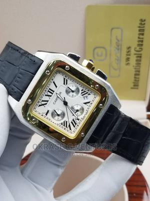 Cartier Chronograph Gold/Silver Leather Strap Watch   Watches for sale in Lagos State, Lagos Island (Eko)