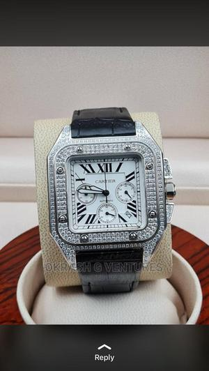 Cartier Full Ice Chronograph Silver Leather Strap Watch   Watches for sale in Lagos State, Lagos Island (Eko)