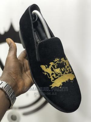 Black Velvet With Gold Monograming   Shoes for sale in Lagos State, Mushin