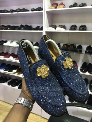 Blue Shining Leather Loafers With Gold Flawer   Shoes for sale in Lagos State, Mushin