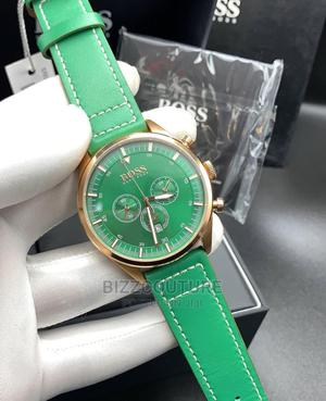 High Quality HUGO BOSS Green Leather Watch for Men   Watches for sale in Lagos State, Magodo