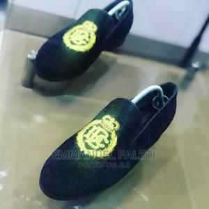 Gold Monogrammed Black Suede Loafers   Shoes for sale in Lagos State, Mushin