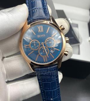 High Quality HUGO BOSS Blue Leather Watch for Men   Watches for sale in Lagos State, Magodo